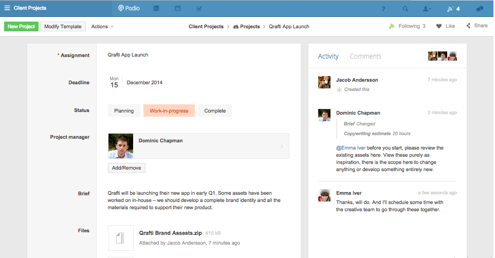 Podio project management tool
